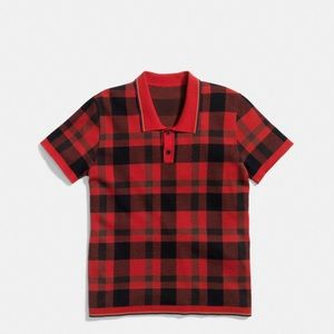 Coach Mens wool/silk plaid henley